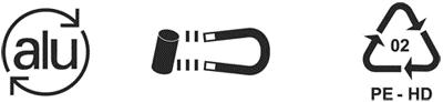 Logos représentant les symboles d'identification des matériaux