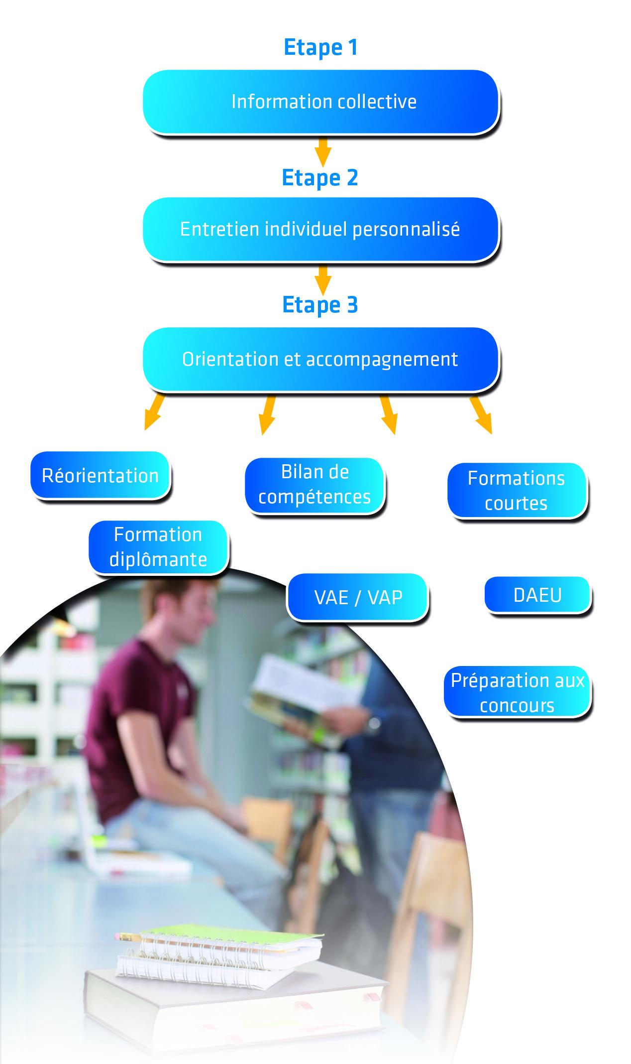 Schéma des étapes d'Accueil, d'Information, d'Orientation et d'insertion Professionnelle
