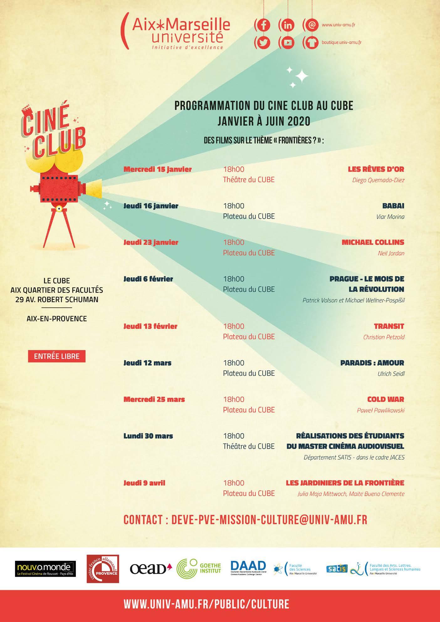 Ciné-Club au Cube 2019-20, S2